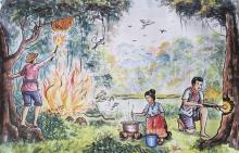 Painting of fire-dependent activities